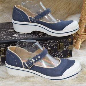 Dansko Vegan Denim Blue Strap Comfort Work Shoes